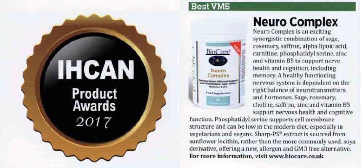 BioCare's Neuro Complex Nominated for IHCAN 2017 Product Awards