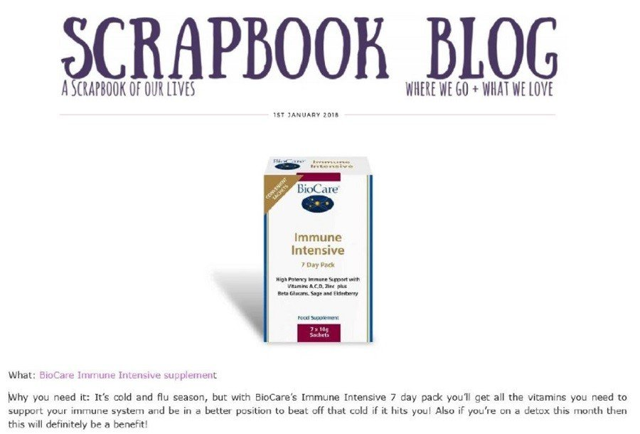 BioCare's Immune Intensive Approved by Scrapbook Blog