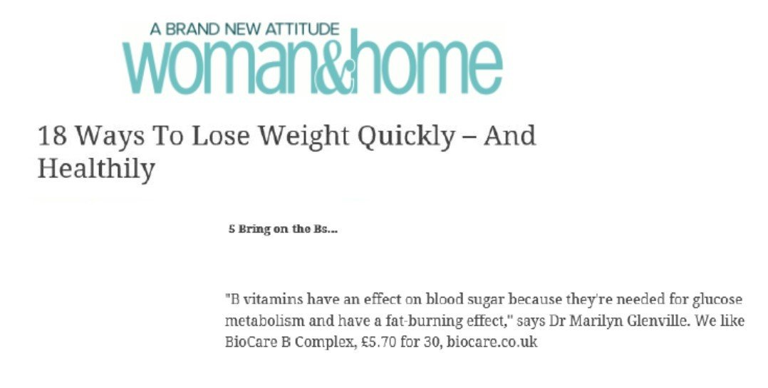 BioCare's B Complex Recommended for Healthy Weight Loss by Woman and Home