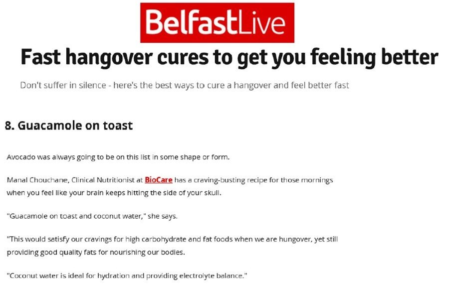 BioCare's Clinical Nutritionist Interviewed by Belfast Live on Hangover Cures
