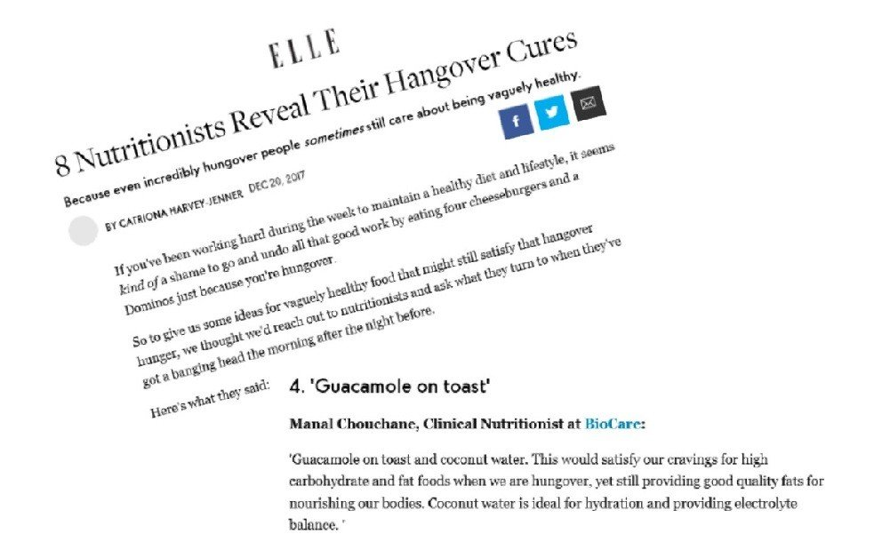 BioCare's Clinical Nutritionist Speaks with ELLE Magazine about Effective Hangover Cures