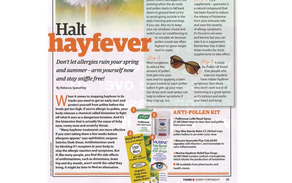 BioCare's Quercetin Plus Lauded by Yours Magazine