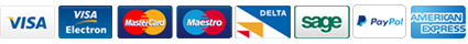 Visa. Visa Electron, MaterCard, Delta, Sage, PayPal and American Express logos