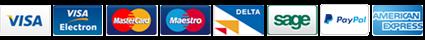 Visa. Visa Electron, MaterCard, Delta, Sage, PayPal and American Express logos